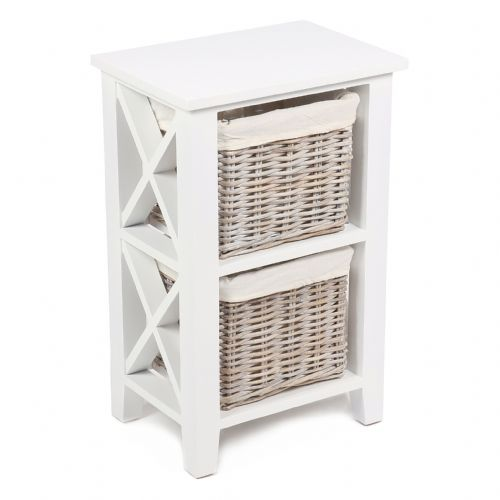 "2 Basket Vertical ""X"" Cabinet in Matt White with Cotton Linings"